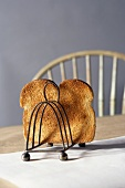 Piece of Toasted Bread in a Toast Rack