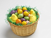 Easter Basket with Candy Eggs and Peeps
