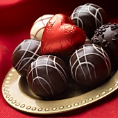 Chocolate Truffles with Chocolate Heart Wrapped in Foil