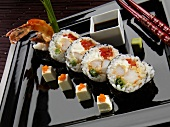 Supercrunch Roll with Tempura Shrimp, Red Pepper and Cream Cheese
