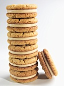 Stack of Peanut Butter Cookies on a White Background