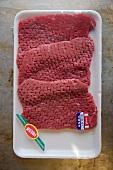 Cube Steaks in Supermarket Packaging