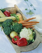 Variety of Whole Fresh Vegetables in a Wooden Tray