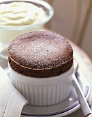 Chocolate Souffle in a Ramekin, Bowl of Whipped Cream