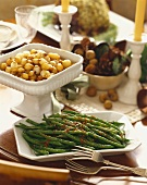Two Side Dishes, Glazed Pearl Onions and Green Beans with Roasted Shallots