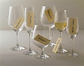 Various Types of Empty Wine Glasses with Labels, White Wine