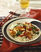 Chicken and Broccoli Stir Fry with Red Bell Pepper Over Rice