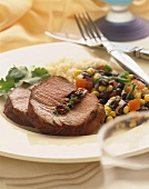 Slices of Stuffed Beef Filet with Corn and Black Bean Salad, Rice
