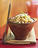 Bowl of White Beans with Scallion, Wooden Spoon