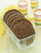 Ginger Cookies in a Glass Rectangular Dish, Glasses of Milk