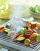 Kielbasa and Vegetable Kabobs on the Grill, Smoke