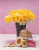 Stained Glass Sugar Cookies, Stack Tied with Ribbon, Vase of Daffodils