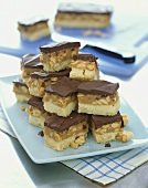 Chocolate-topped caramel nut bars