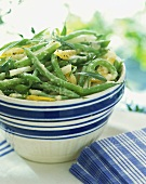 Green Bean Salad in a White and Blue Striped Bowl