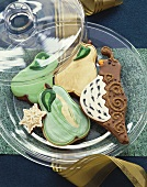 Decorative Cookies in a Covered Glass Plate