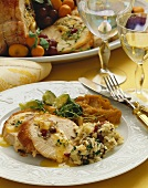Stuffed Turkey Dinner on a White Plate, Place Setting