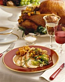 Thanksgiving Dinner on a Plate, Place Setting on Dinner Table