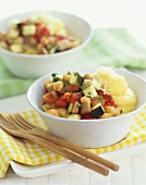 Ratatouille with Polenta in a White Bowl, Wooden Forks