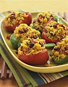 Bulgur Pilaf Stuffed Bell Peppers with Dried Fruit on a Platter