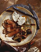 Sliced Flank Steak with Wild Mushrooms and Bruschetta with Cheese Spread, Rustic Utensils