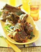 Rack of Barbecue Lamb on a Platter