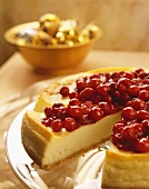 Cranberry Cheesecake with Slice Removed, Close Up