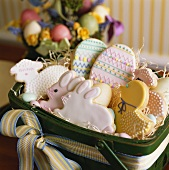 Assorted Decorated Easter Cookies in a Basket