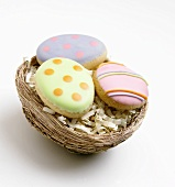 Easter Egg Cookies in a Nest
