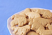 Plate of Animal Crackers; Blue Background