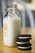 Bottle of Milk and Chocolate Cream Cookies
