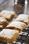 Beignets Topped with Powdered Sugar on a Cooling Rack