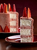 Slice of Strawberry Cake with Strawberry Buttercream Frosting; Cake