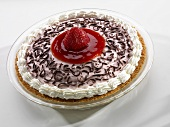 Strawberry Cream Pie Topped with Chocolate Curls; White Background