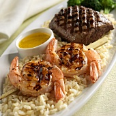 Surf & Turf on Brown Rice; Grilled Shrimp and Steak; Close Up