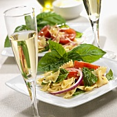 Farfalle Salad with Tomato and Basil; White Wine