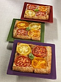 Three Slices of Tomato and Cheese Galette; Made with Assorted Tomatoes