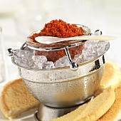 Red Caviar on Ice with Toast Points
