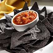 Blue Corn Chips with Salsa