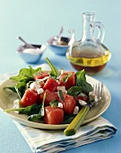 Corn salad with watermelon, feta and mint