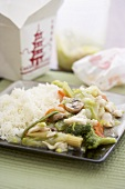 Chicken and vegetable chop suey with rice to take away