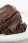 Slice of Chocolate Layer Cake with Chocolate Fudge Frosting; Close Up