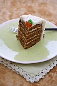 Slice of Carrot Cake on a Plate; Fork