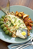 Whole Pompano Fish with Brussels Sprouts and Potatoes