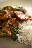 Chinese Broccoli Chicken with White Rice; Close Up