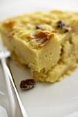 Slice of Bread Pudding with Raisins