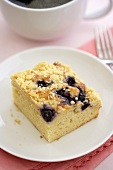 Piece of Blueberry Crumb Coffee Cake; With Coffee