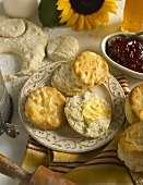 Southern Style Biscuits with Butter and Strawberry Jam