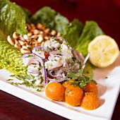 Ceviche Salad with Sweet Potato (Marinated Raw Fish, Peru)