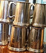 Stacked Metal Beer Mugs