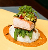 Salmon on Green Beans, Mashed Potatoes and Sauce